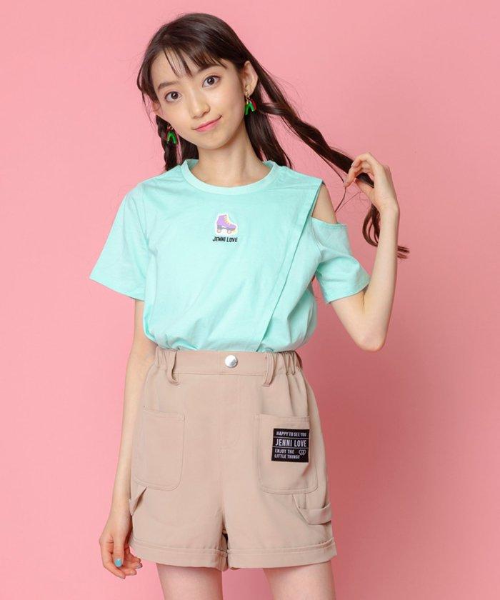 ジェニィ 肩あきアシメTシャツ キッズ ミント 130 【JENNI】