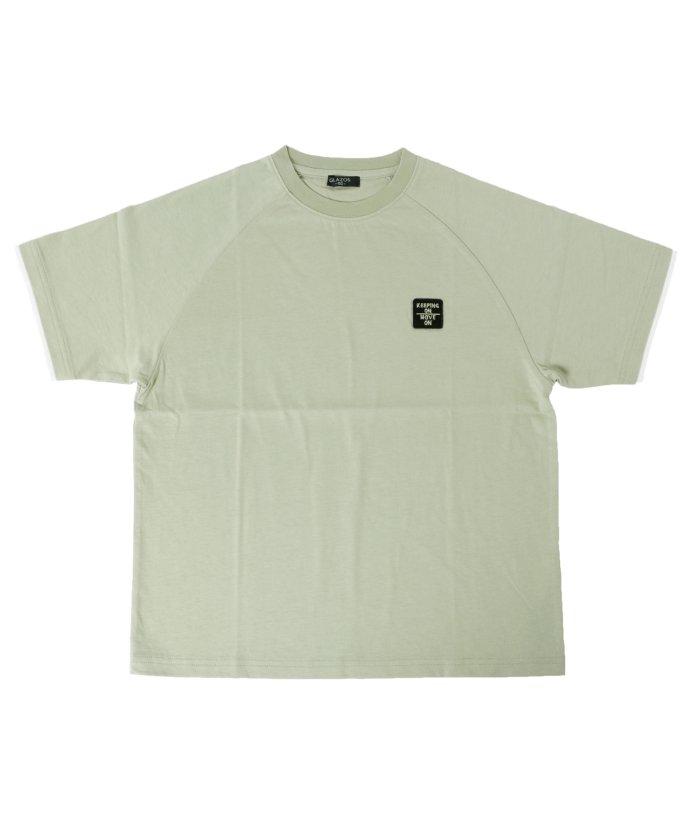 グラソス 天竺・ドロップショルダーラグラン刺繍半袖Tシャツ キッズ カーキ 130cm 【GLAZOS】