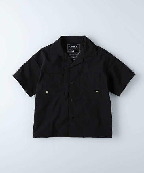 ライトオン キャンプ7 オープンカラーシャツ キッズ ブラック 155 【Right-on】