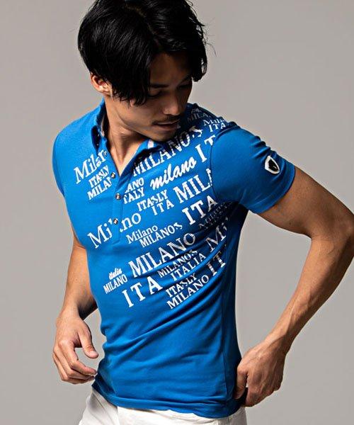 シルバーバレット VIOLA エナメルワッペン付きデザインプリントストレッチ半袖ポロシャツ メンズ ブランド ビオラ トップス スポーツ メンズ ブルー XL 【SILVER BULLET】