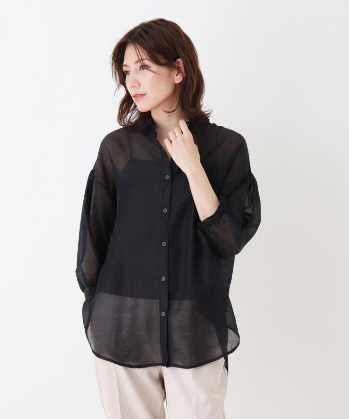 【46%OFF】 シューラルー シアー前開きシャツ レディース ブラック(019) 03(L) 【SHOO・LA・RUE】 【タイムセール開催中】