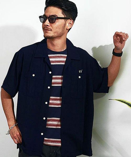 シルバーバレット VICCI バックロゴ刺繍入りボーリングシャツ メンズ 半袖 ボウリングシャツ おしゃれ オープンカラー 開襟 メンズ ネイビー 46(L) 【SILVER BULLET】