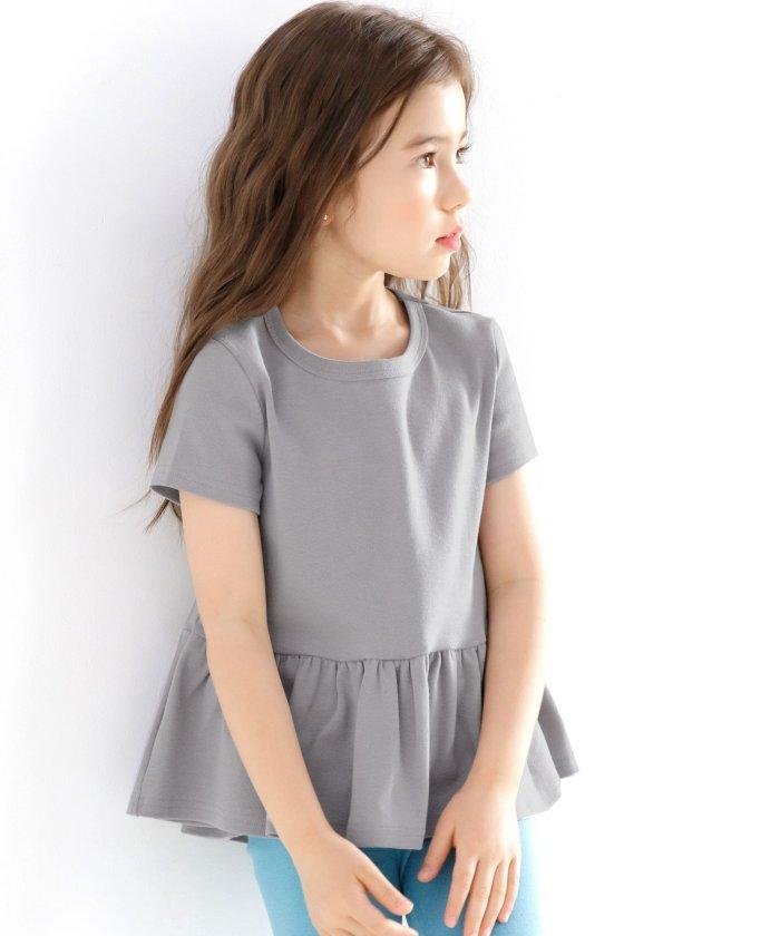 【28%OFF】 子供服ビー ぺプラム型フリルトップス キッズ グレー 150cm 【子供服Bee】 【セール開催中】