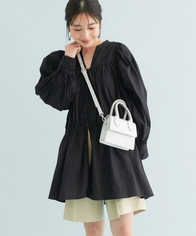 ViS/たっぷりギャザーのボリューム袖羽織りチュニック丈ブラウス/504168245
