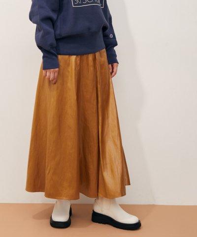 ADAM ET ROPE'/レザーライクサテンスカート/504160919