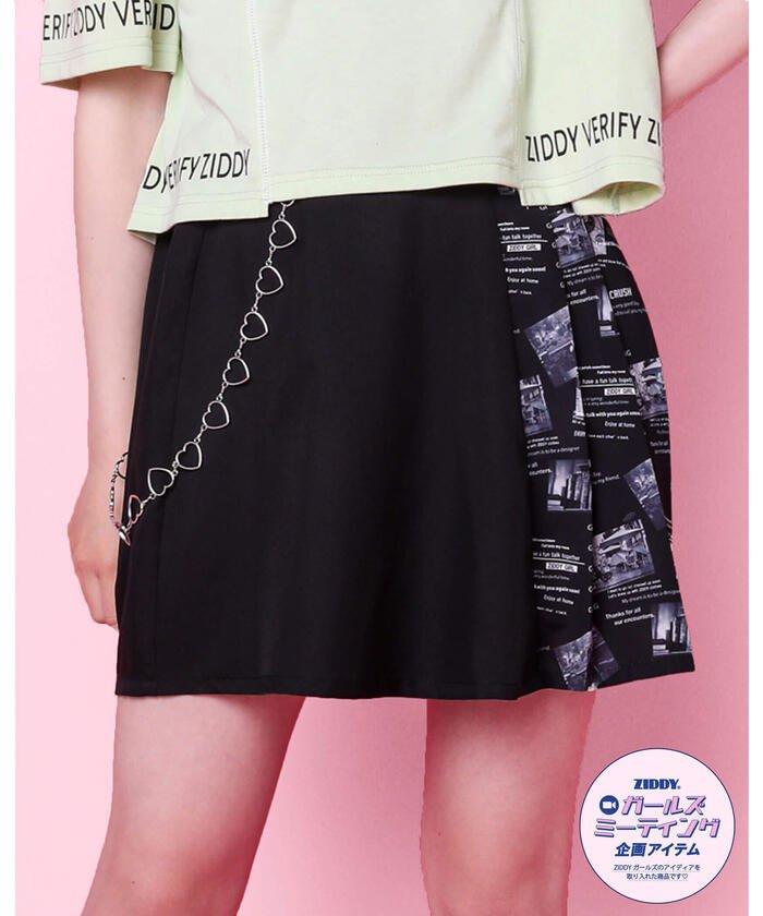 ジディー ハートチャーム ニュースペーパー スカート(1 キッズ ブラック FREE(160cm) 【ZIDDY】