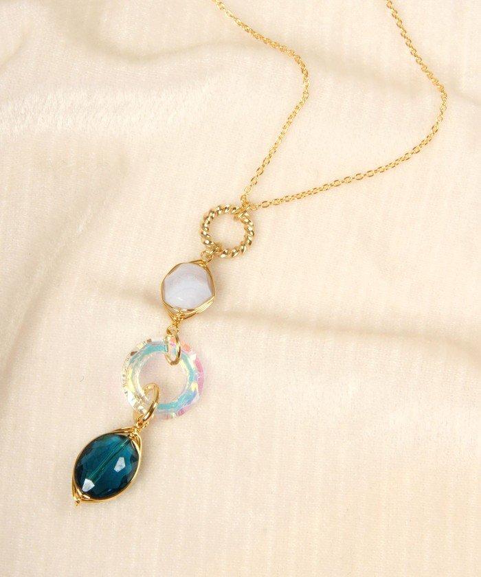 ワイスチャーム K14GF オーロラガラス×ブルー天然石ネックレス レディース ゴールド フリー 【WYTHECHARM】