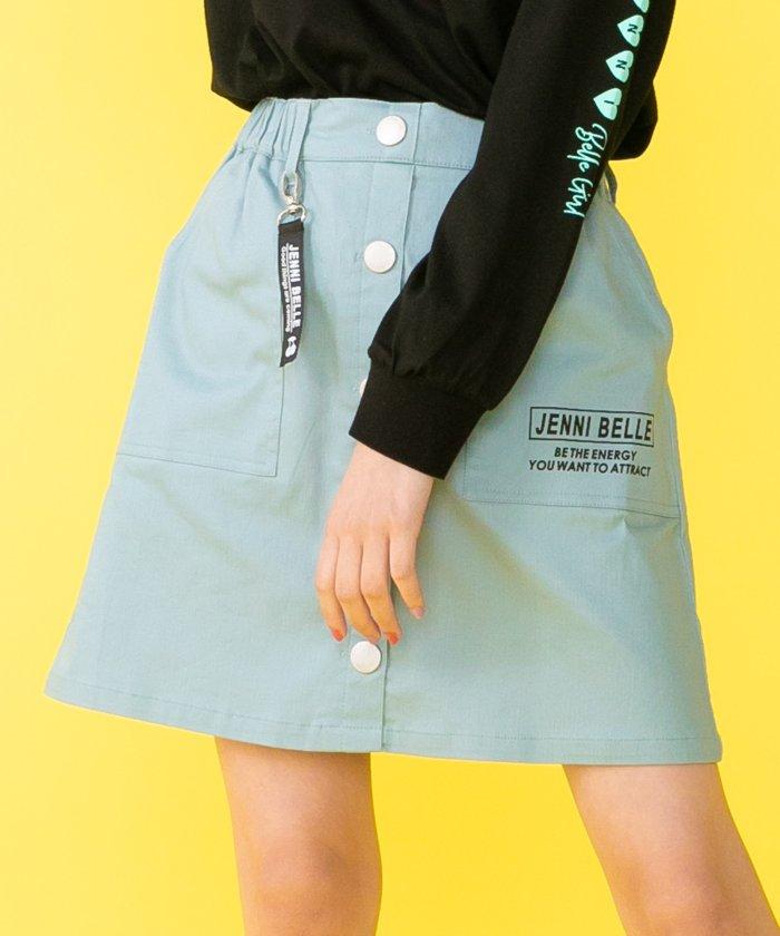 ジェニィ チャーム付き前ボタンスカート キッズ サックス 140 【JENNI】