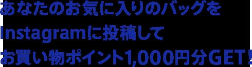 あなたのお気に入りのバッグをInstagramに投稿してお買い物ポイント1,000円分GET!