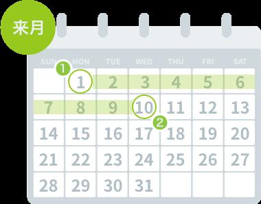翌月1日請求、10日までにまとめてお支払い