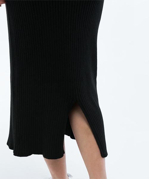 太リブシンプルニットタイトスカート