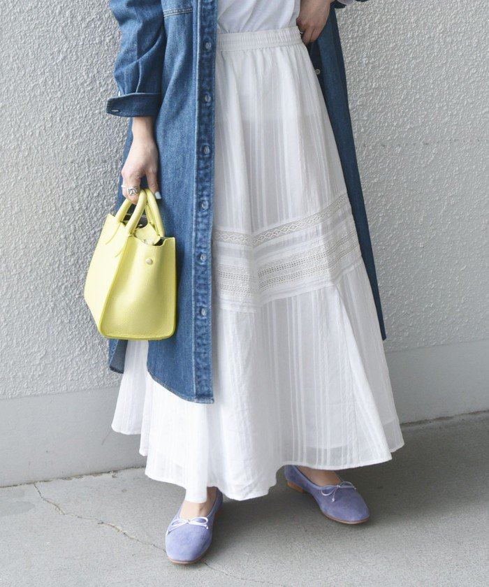ストライプパターン ギャザー スカート