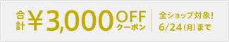 合計3,000円OFFクーポン