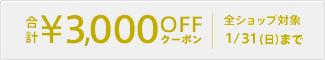 72h限定合計3,000円OFFクーポン