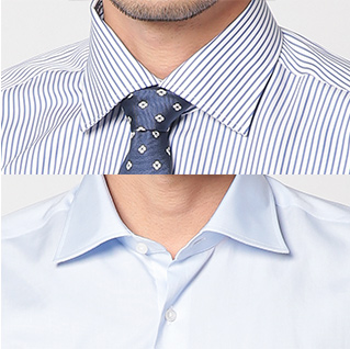 ワイドカラーに着脱可能な襟キーパーを採用