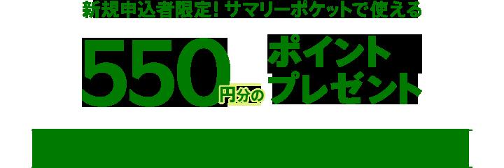 新規申込者限定!サマリーポケットで使える550円分のポイントプレゼント! 期間 3/1(月)-6/15(火)23:59
